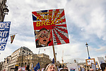 "The ""Put it to the People"" rally makes it's way past Trafalgar Square in  central London today. Demonstrators from across the country gathered to call for a second referendum on Brexit and to march through the UK capital finishing with speeches in Parliament Square opposite the Houses of Parliament in Westminster."