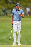 Tony Finau (USA) after sinking his putt on 1 during day 2 of the Valero Texas Open, at the TPC San Antonio Oaks Course, San Antonio, Texas, USA. 4/5/2019.<br /> Picture: Golffile | Ken Murray<br /> <br /> <br /> All photo usage must carry mandatory copyright credit (&copy; Golffile | Ken Murray)