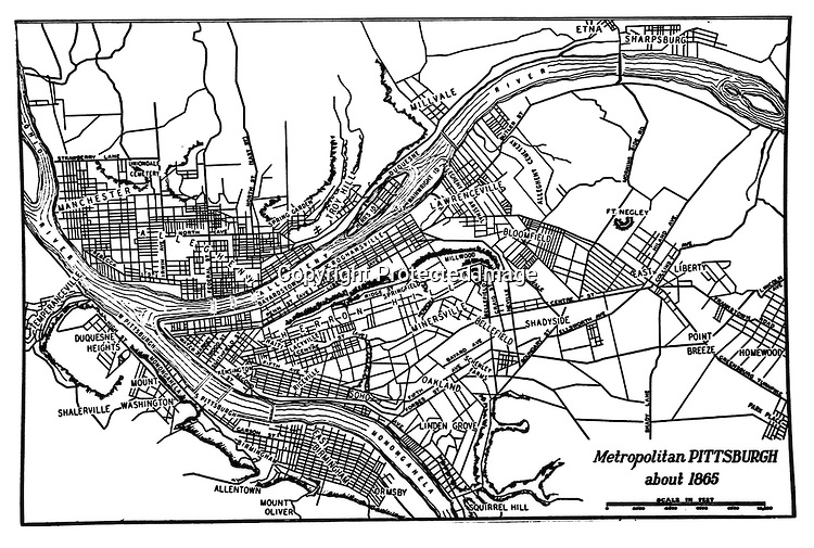Pittsburgh PA - Metropolitan Pittsburgh Map with Neighborhoods