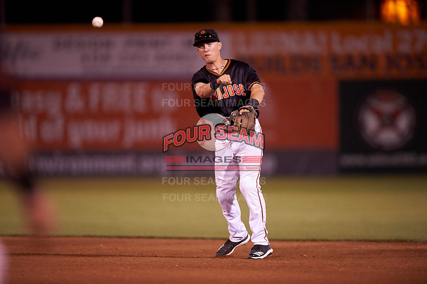 San Jose Giants second baseman Kyle McPherson (2) during a California League game against the Visalia Rawhide on April 12, 2019 at San Jose Municipal Stadium in San Jose, California. Visalia defeated San Jose 6-2. (Zachary Lucy/Four Seam Images)