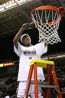 5 March 2007: Candice Wiggins cuts down the net during Stanford's 62-55 win over ASU in the finals of the women's Pac-10 tournament championship at HP Pavilion in San Jose, CA.
