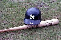 New York Yankees Don Mattingly batting helmet and bat during spring training circa 1989 at Holman Stadium in Vero Beach, Florida.  (MJA/Four Seam Images)
