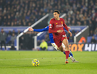 26th December 2019; King Power Stadium, Leicester, Midlands, England; English Premier League Football, Leicester City versus Liverpool; Trent Alexander Arnold of Liverpool with the ball at his feet looks for a pass - Strictly Editorial Use Only. No use with unauthorized audio, video, data, fixture lists, club/league logos or 'live' services. Online in-match use limited to 120 images, no video emulation. No use in betting, games or single club/league/player publications