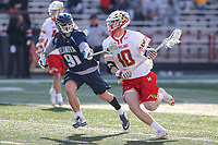 College Park, MD - March 18, 2017: Maryland Terrapins Jared Bernhardt (10) runs pass Villanova Wildcats TJ Comizio (91) during game between Villanova and Maryland at  Capital One Field at Maryland Stadium in College Park, MD.  (Photo by Elliott Brown/Media Images International)