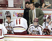 Danny Linell (BC - 10), Pat Mullane (BC - 11), Tom Maguire (BC - Senior Manager), Mike Cavanaugh (BC - Associate Head Coach), Steven Whitney (BC - 21), Michael Sit (BC - 18) - The Boston College Eagles defeated the University of Vermont Catamounts 4-1 on Friday, February 1, 2013, at Kelley Rink in Conte Forum in Chestnut Hill, Massachusetts.