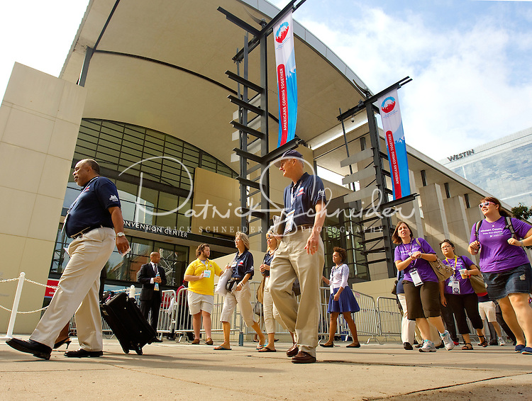Crowds cross outside the Charlotte Convention Center  as the city of Charlotte, NC prepares for the 2012 Democratic National Convention in Charlotte, N.C.