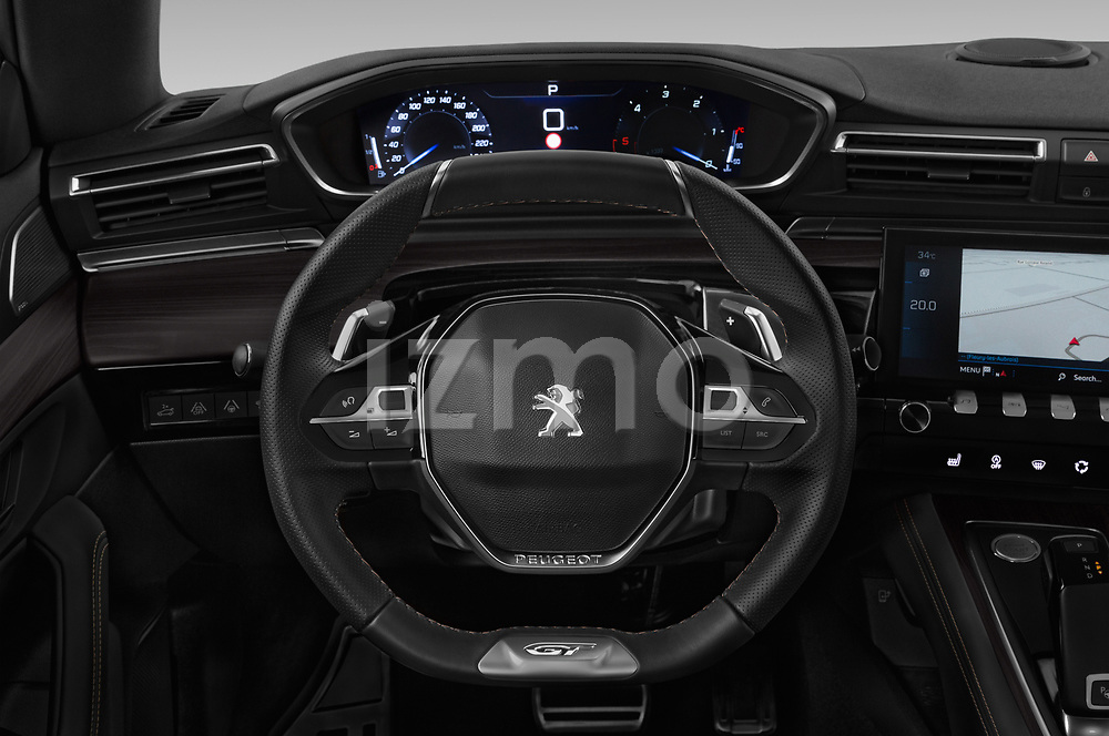 Car pictures of steering wheel view of a 2019 Peugeot 508 First Edition 5 Door Wagon