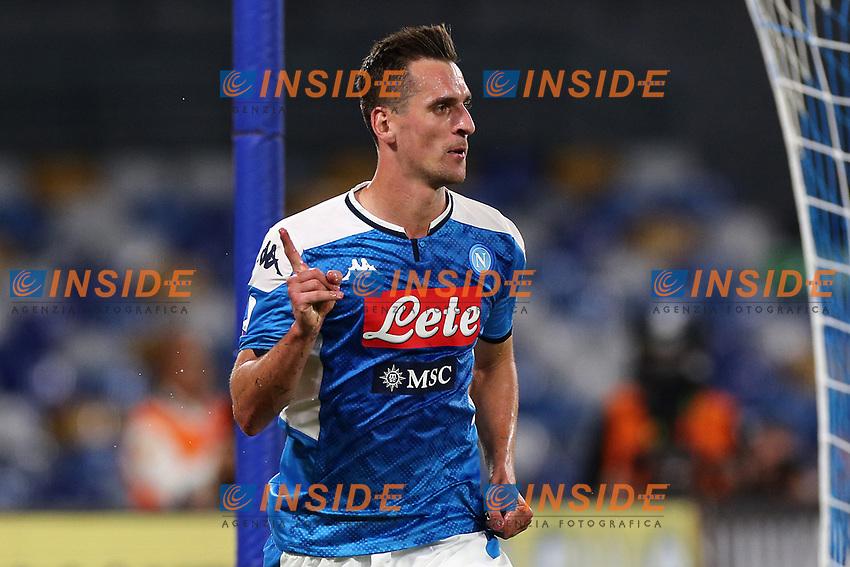 Arkadiusz Milik of Napoli celebrates after scoring a goal<br /> Napoli 19-10-2019 Stadio San Paolo <br /> Football Serie A 2019/2020 <br /> SSC Napoli - Hellas Verona FC<br /> Photo Cesare Purini / Insidefoto