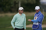 Raphael Jacquelin shares a joke with his caddy on the 8th green during the first round of the Seve Trophy at The Heritage Golf Resort, Killenard,Co.Laois, Ireland 27th September 2007 (Photo by Eoin Clarke/GOLFFILE)