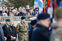 Pictured: Former members of the Armed Forces with locals during the service. Sunday 11 November 2018<br /> Re: Commemoration for the 100 years since the end of the First World War on Remembrance Day at the Swansea Cenotaph in south Wales, UK.