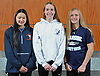 Members of Newsday's 2018 All-Long Island girls swimming team pose for a group portrat at company headquarters in Melville on Thursday, Nov. 29, 2018. Appearing are, from left, Jessica Whang of Great Neck South, Kyra Sommerstad of Port Jefferson and Catherine Stanford of Oceanside.