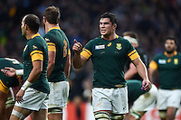 Francois Louw of South Africa rallies his team-mates. Rugby World Cup Semi Final between South Africa and New Zealand on October 24, 2015 at Twickenham Stadium in London, England. Photo by: Patrick Khachfe / Onside Images