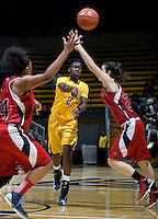 Afure Jemerigbe of California passes the ball during the game against St. Mary's at Haas Pavilion in Berkeley, California on November 15th, 2012.  California defeated St. Mary's, 89-41.