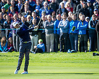 26.09.2014. Gleneagles, Auchterarder, Perthshire, Scotland.  The Ryder Cup.  Keegan Bradley [USA] second shot on the 11th during Friday Fourballs.