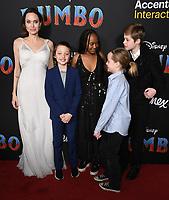 "11 March 2019 - Hollywood, California - Angelina Jolie, Shiloh Jolie-Pitt, Zahara Marley Jolie-Pitt, Vivienne Marcheline Jolie-Pitt, Knox Jolie-Pitt. ""Dumbo"" Los Angeles Premiere held at Ray Dolby Ballroom. Photo Credit: Birdie Thompson/AdMedia"
