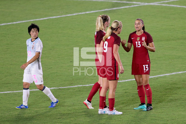 Carson, CA - Thursday August 03, 2017: Lindsey Horan, Alex Morgan during a 2017 Tournament of Nations match between the women's national teams of the United States (USA) and Japan (JPN) at the StubHub Center.