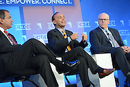 Washington, DC - October 1, 2014: Representative Luis Gutierrez (c) speaks about immigration reform during a panel discussion at the Congressional Hispanic Caucus Institute's Policy Conference held at the Ronald Reagan Building in the District of Columbia, October 1, 2014. (L-R) Jim Avila, ABC News and Rep. Joseph Crowley (D-NY).  (Photo by Don Baxter/Media Images International)