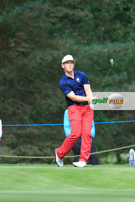 Brad Dalke (USA) during the 2014 JUNIOR RYDER CUP at the Blairgowrie Golf Club, Perthshire, Scotland. Picture:  Thos Caffrey / www.golffile.ie