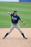 Brendan Rodgers (22) of Lake Mary High School in Longwood, Florida playing for the Tampa Bay Rays scout team during the East Coast Pro Showcase on July 30, 2014 at NBT Bank Stadium in Syracuse, New York.  (Mike Janes/Four Seam Images)
