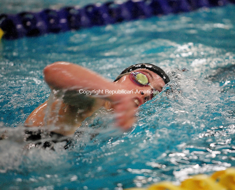 WATERBURY, CT-07 November 2009-110709CM01--  Rhiannon Urciuoli of Seymour High  swam to second place in the 200 freestyle at the NVL Championships Saturday night.    <br /> Christopher Massa Republican-American