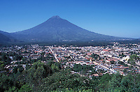 Guatemala, Antigua, Volcan Agua behind the town