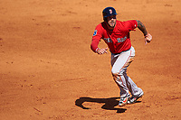 Boston Red Sox designated hitter Blake Swihart (23) running the bases during a Spring Training game against the Pittsburgh Pirates on March 9, 2016 at McKechnie Field in Bradenton, Florida.  Boston defeated Pittsburgh 6-2.  (Mike Janes/Four Seam Images)