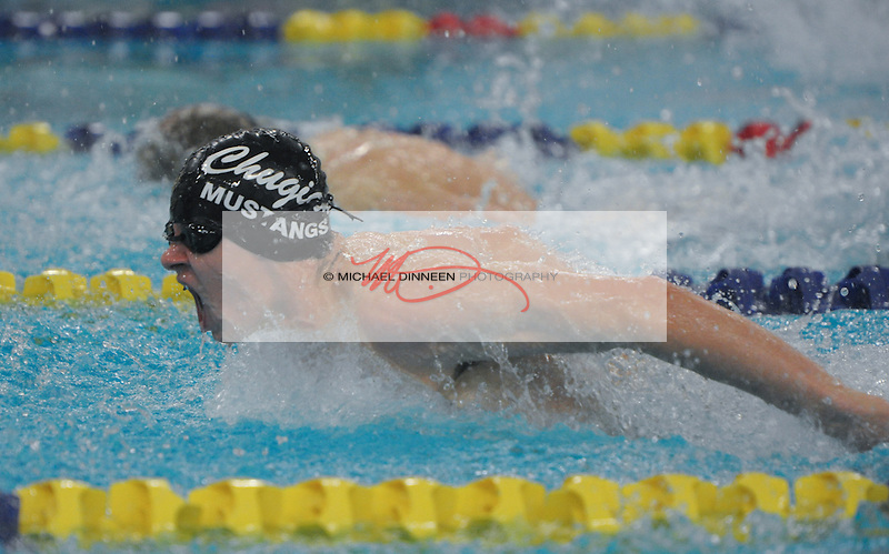 Chugiak's Blackstone Reid in the 200 IM duriing the  Region IV Swim Championships prelims. Photo for the Star by Michael Dinneen