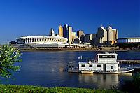 Cincinnati, skyline, stadium, OH, Ohio, Cinergy Field, downtown skyline, Ohio River.