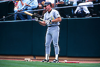 OAKLAND, CA - Wade Boggs of the Tampa Bay Devil Rays in the on deck circle during a game against the Oakland Athletics at the Oakland Coliseum in Oakland, California in 1998. Photo by Brad Mangin