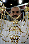 A Palestinian vendor displays a gold jewellery at a jewellery store in the Rafah Refugee Camp, Southern Gaza Strip on Sep. 10, 2011. Decline in demand for gold in the Palestinian markets due to the high price of $ 50 per gram, this high price in the global gold. Photo by Abed Rahim Khatib