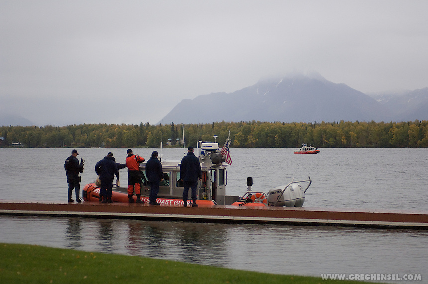 Coastguard patrolling the water near Sarah Palin's home on Lake Lucille in Wasilla, Alaska.