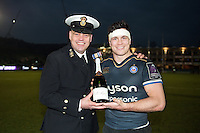 Man of the Match Francois Louw poses for a photo after the match. European Rugby Challenge Cup match, between Bath Rugby and Pau (Section Paloise) on January 21, 2017 at the Recreation Ground in Bath, England. Photo by: Patrick Khachfe / Onside Images