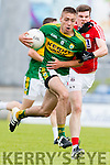 Adrian Spillane Kerry in action against John Corkery Cork in the Munster Junior Final at Austin Stack Park on Wednesday Evening.