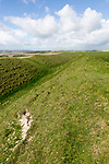 Defensive ramparts and ditch Yarnbury Castle, Iron Age hill fort, Wiltshire, England, UK