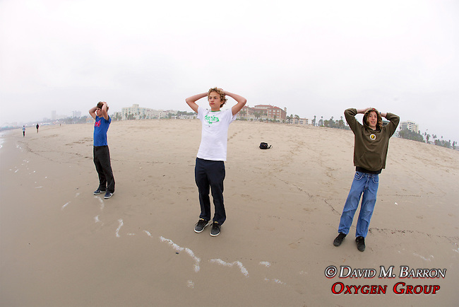 Ian Simon, Joe Marcus & Spencer Blattel, Looking Out At The Ocean On Santa Monica Beach
