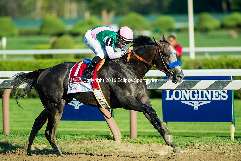 SARATOGA SPRINGS - AUGUST 27: Arrogate #1, ridden by Mike Smith, wins the Travers Stakes on Travers Stakes Day at Saratoga Race Course on August 27, 2016 in Saratoga Springs, New York. (Photo by Scott Serio/Eclipse Sportswire/Getty Images)