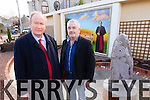 Jim Finucane and Frank Hartnett at the  garden next to the small roundabout at Strand Street, Tralee dedicated to Monsg Hugh O'Flaherty, who spent some of his early years living across the road.