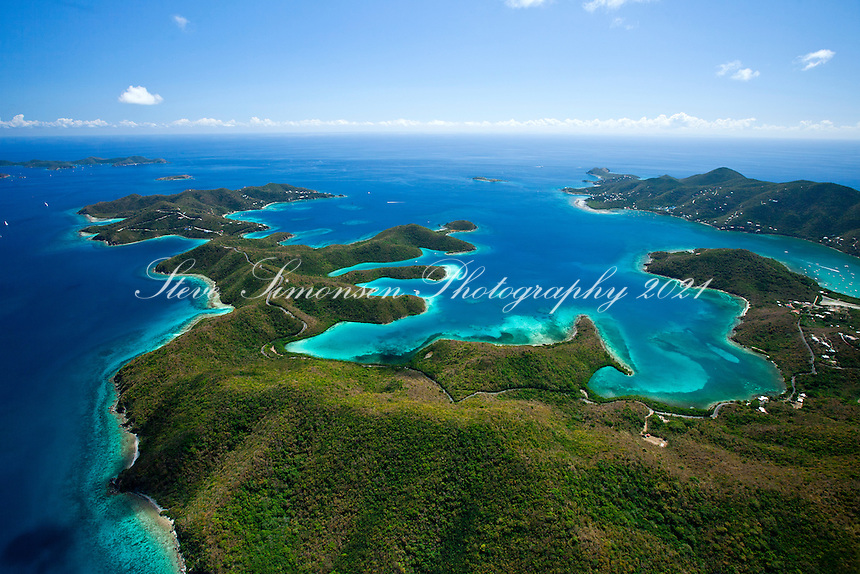 Aerial view looking  into Hurricane Hole and beyond.St. John.U.S. Virgin Islands