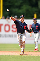 Steven Magrum (17) of Western Albemarle High School in Charlottesville, Virginia playing for the Cleveland Indians scout team during the East Coast Pro Showcase on August 2, 2014 at NBT Bank Stadium in Syracuse, New York.  (Mike Janes/Four Seam Images)