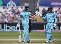 Jason Roy (England) congratulates Jonny Bairstow (England) on his half century during England vs New Zealand, ICC World Cup Cricket at The Riverside Ground on 3rd July 2019