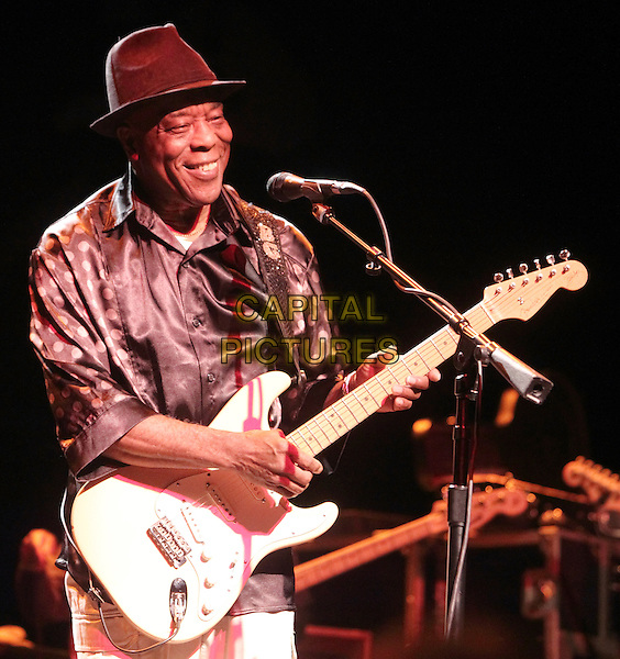 BUDDY GUY.Legendary Blues guitarist Buddy Guy Performs at the Pullo Center at Penn State York, in York, Pennsylvania, USA. October 27th, 2010.*Editorial Only !*.stage concert live gig performance music half length brown white polka dot shirt hat guitar singing  .CAP/RKE/EML.©EML/RockinExposures/Capital Pictures.