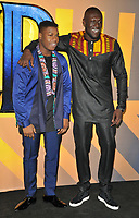 John Boyega and Stormzy at the &quot;Black Panther&quot; European film premiere, Hammersmith Apollo (Eventim Apollo), Queen Caroline Street, London, England, UK, on Thursday 08 February 2018.<br /> CAP/CAN<br /> &copy;CAN/Capital Pictures