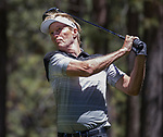 Jack Wagner swings during the ACC Golf Tournament at Edgewood Tahoe Golf Course in South Lake Tahoe on Sunday, July 14, 2019.