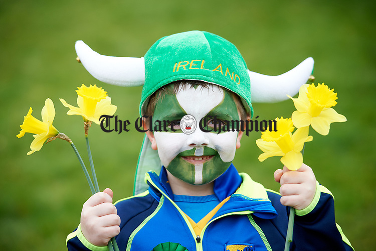 Ben Darcy at the St Patrick's Day parade in Sixmilebridge. Photograph by John Kelly.