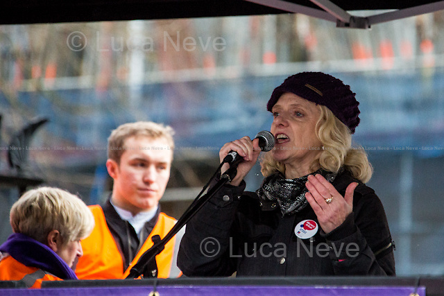 Janet Davies (Chief Executive and General Secretary of the Royal College of Nursing).<br /> <br /> London, 09/01/2016. Today, about 5,000 people, including doctors, student nurses, midwives, junior doctors and other healthcare professionals marched from the Saint Thomas Hospital to Downing Street to protest against the Conservative Government's plan to scrap bursaries for nursing and midwifery students from 2017. The demonstration was organised by the King's College London students and supported by trade unions and other organizations fighting against the plan to privatise the NHS (National Health Service).<br />  <br /> For more information please click here: http://on.fb.me/1IWbWg9<br /> <br /> To sign the online petition please click here: https://petition.parliament.uk/petitions/113491