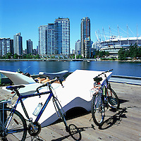 Vancouver, BC, British Columbia, Canada - View of City and New Roof at BC Place Stadium, from the Village on False Creek