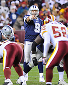 Landover, MD - November 16, 2008 -- Dallas Cowboys quarterback Tony Romo (9) gestures as he call signals in second quarter action against the Washington Redskins at FedEx Field in Landover, Maryland on Sunday, September 9, 2007.  The Cowboys won the game 14 - 10..Credit: Ron Sachs / CNP