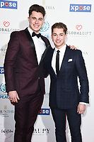 LONDON, UK. April 08, 2019: Cutis &amp; AJ Pritchard arriving for the Football for Peace initiative dinner by Global Gift Foundation at the Corinthia Hotel, London.<br /> Picture: Steve Vas/Featureflash