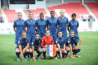 The victories French team during the UEFA Womens U19 Final at Parc y Scarlets Saturday 31st August 2013. All images are the copyright of Jeff Thomas Photography-www.jaypics.photoshelter.com-07837 386244-Any use of images must be authorised by the copyright owner.