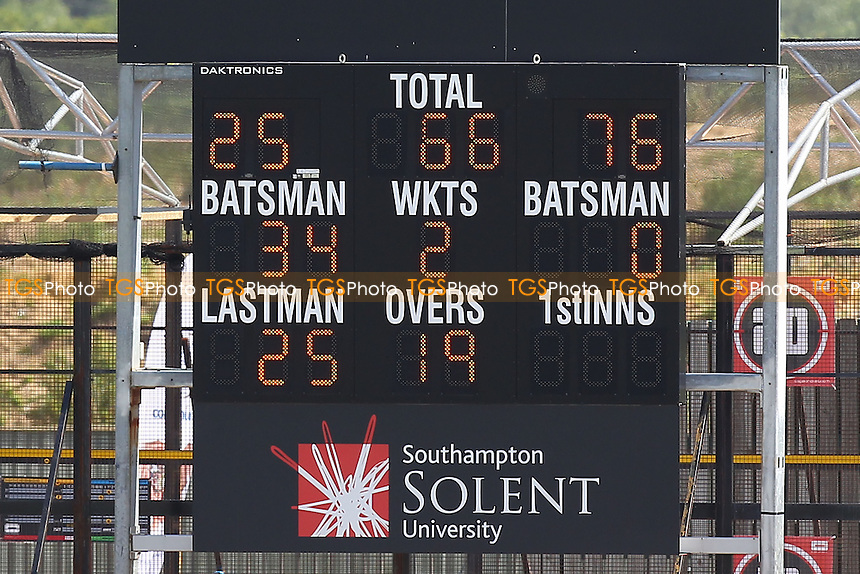 The scoreboard shows that Essex are 66 for 2 wickets, chasing 606 runs to win - Hampshire CCC vs Essex CCC - LV County Championship Division Two Cricket at the Ageas Bowl, West End, Southampton - 17/06/14 - MANDATORY CREDIT: Gavin Ellis/TGSPHOTO - Self billing applies where appropriate - 0845 094 6026 - contact@tgsphoto.co.uk - NO UNPAID USE